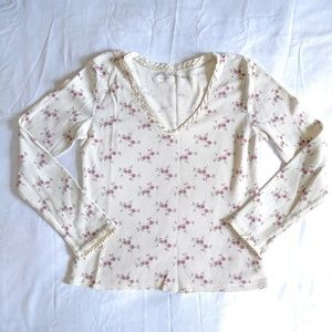 Vintage Chaps Rose Floral Top With Silk Sleeves